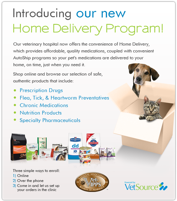 Introducing VetSource Home Delivery from Exclusively Cats Veterinary Hospital - Veterinarians serving the Detroit area, including Waterford, White Lake, Clarkston, West Bloomfield, Flint, Brighton MI, northern Ohio and Windsor, Canada.